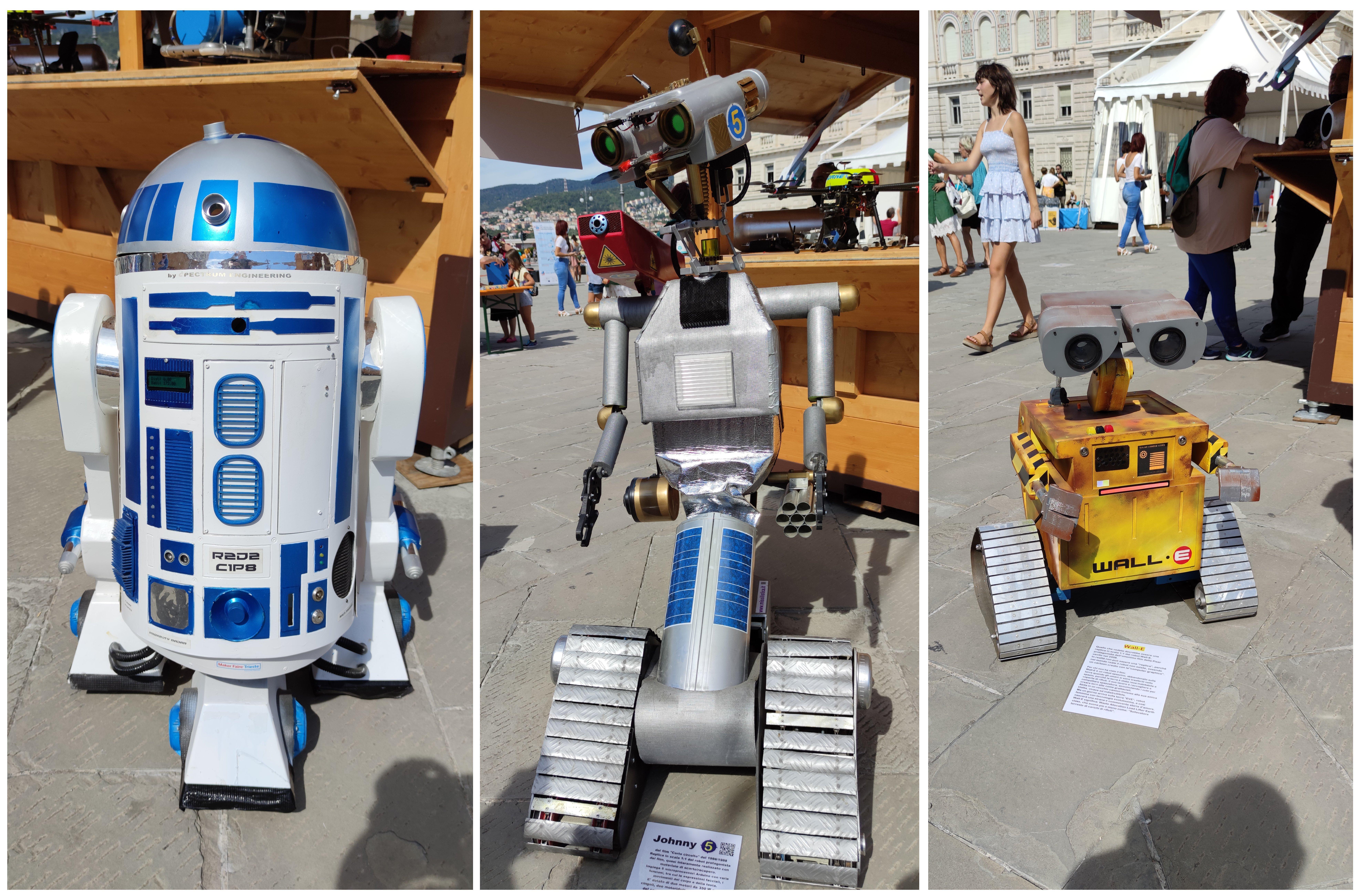 Robot repliche da film: R2D2, Johnny5, Wall-e