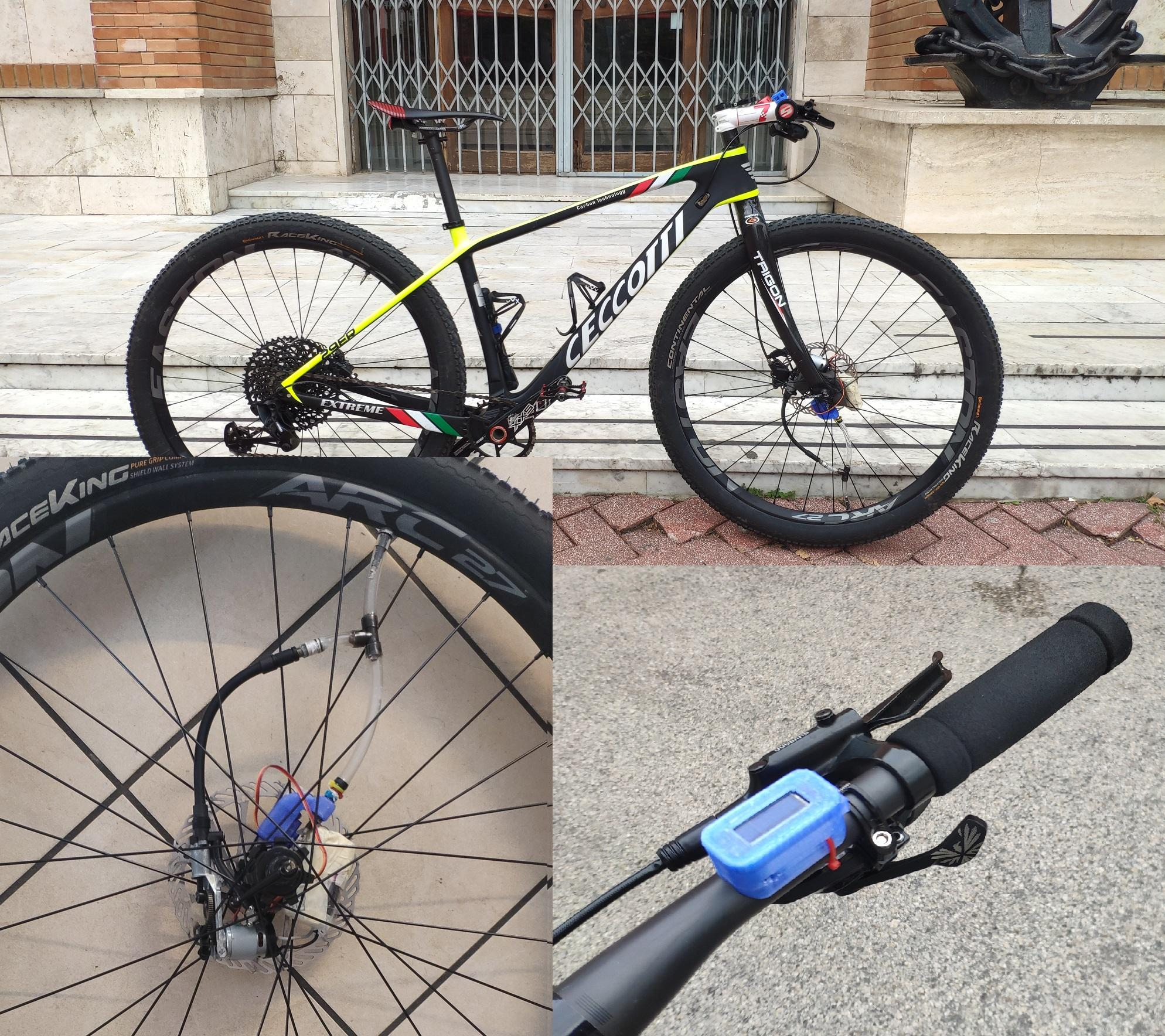 Variatore e regolatore della pressione dello pneumatico durante la marcia del veicolo applicato ad una bici mountain bike.